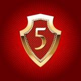 Schild im Gold mit Alphabetsymbol Stockfotografie