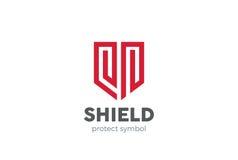 Schild-Logodesignvektor Gesetzesrechtssicherheitsschutz Lizenzfreie Stockbilder