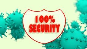 Schild met veiligheidstekst en viruse modellen antivirus programm samenvatting Stock Foto's