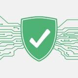 Schild met vinkje Het pictogram van toestellen Bescherming en antivirus concept Veiligheid en veiligheidssysteempictogram Royalty-vrije Stock Afbeeldingen