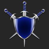 Schild met zwaarden Metaalschild en drie zwaarden De blauwe doos en versieringshandvatten Grijze achtergrond Stock Foto's