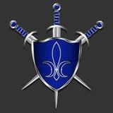 Schild met zwaarden Metaalschild en drie zwaarden De blauwe doos en versieringshandvatten Grijze achtergrond Embleem van koninkli Stock Afbeeldingen