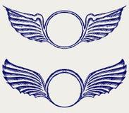 Schild mit Flügeln Stockfoto