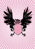 Schild mit schwarzen Flügeln Lizenzfreies Stockfoto