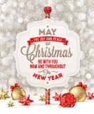 Schild mit Weihnachtsgruß Stockbild