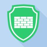 Schild mit Ziegelsteinkennzeichenikone, flache Art Lizenzfreies Stockfoto