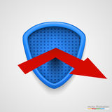 Schild reflektieren Pfeil Schutz conceprt Vektor Lizenzfreies Stockfoto
