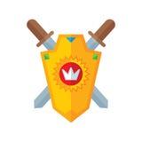 Schild und Klingen - vector kreative Illustration des Logos in der flachen Art Schild mit Sonne und Krone Stockfotos