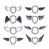 Schilden met Vleugels Royalty-vrije Stock Fotografie