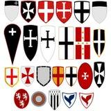 Schilden middeleeuwse ridders royalty-vrije stock foto