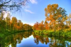 Schilderachtig de herfstlandschap van regelmatige rivier en heldere bomen stock afbeelding