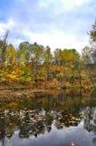 Schilderachtig de herfstlandschap van regelmatige rivier en heldere bomen stock foto's