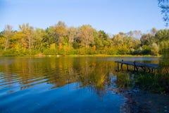 Schilderachtig de herfstlandschap van rivier en heldere bomen en struiken Royalty-vrije Stock Fotografie