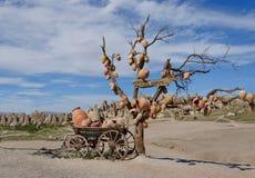 Schilderachtig landschap met kruiken op een boom Stock Afbeelding