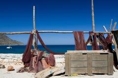 Schilderachtig marien landschap visserijnet op overzees Royalty-vrije Stock Foto's