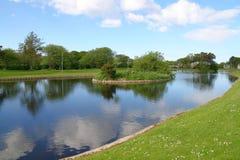 Schilderachtig meer in park Stock Foto's