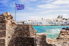 Schilderachtig Naousa-dorp, Paros-eiland, Cycladen, Griekenland Stock Afbeeldingen