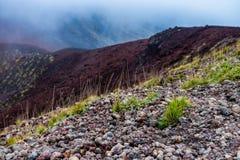 Schilderachtig vulkanisch landschap van Onderstel het nationale park van Etna, Etna, Sicilië, Italië royalty-vrije stock foto