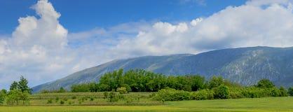 Schilderachtige berglandschap en weide met blauwe hemel en cl Stock Foto