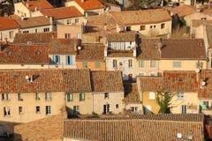 Schilderachtige daken in het dorp Carcassonne frankrijk royalty-vrije stock fotografie