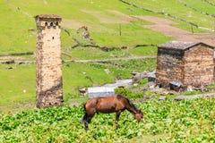 Schilderachtige en schitterende scène Rotstoren in Ushguli - het hoogste gewoonde in dorp in Europa Stock Afbeelding