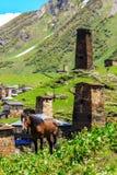 Schilderachtige en schitterende scène Rotstoren in Ushguli - het hoogste gewoonde in dorp in Europa Royalty-vrije Stock Afbeelding