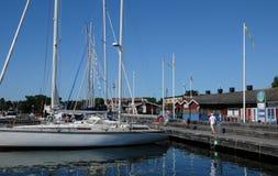 Schilderachtige haven van Nynashamn Stock Foto