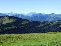 Schilderachtige heuvels, bossen en weilanden in Ostschweiz royalty-vrije stock afbeeldingen
