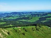 Schilderachtige heuvels, bossen en weilanden in Ostschweiz stock foto's