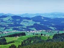 Schilderachtige heuvels, bossen en weilanden in Ostschweiz royalty-vrije stock fotografie