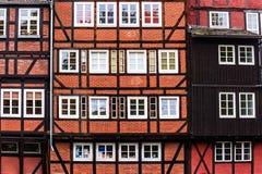 Schilderachtige historische gebouwen in Oude Stad van Lueneburg, Duitsland Royalty-vrije Stock Afbeeldingen