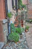 Schilderachtige huisingang in Dozza stock fotografie