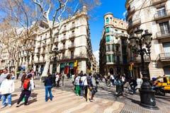 Schilderachtige huizen bij La Rambla, Barcelona Stock Foto