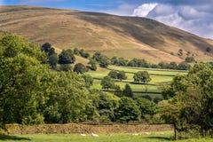 Schilderachtige Mening over de Heuvels dichtbij Edale, Piekdistricts Nationaal Park, Derbyshire, Engeland, het UK royalty-vrije stock fotografie