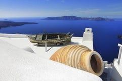 Schilderachtige mening van het Santorini-eiland, Griekenland Royalty-vrije Stock Afbeeldingen