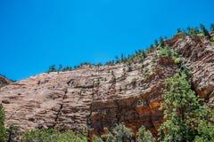 Schilderachtige oude rotsen in Zion National Park De Natuurreservaten van de V.S. royalty-vrije stock foto