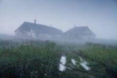 Schilderachtige ruïnes op heuvel in mist in ochtend Royalty-vrije Stock Foto