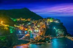 Schilderachtige stad van Manarola, Ligurië, Italië stock afbeeldingen