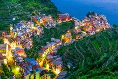 Schilderachtige stad van Manarola, Ligurië, Italië stock fotografie