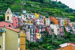 Schilderachtige stad van Manarola, Ligurië, Italië royalty-vrije stock afbeelding