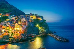 Schilderachtige stad van Manarola, Ligurië, Italië royalty-vrije stock fotografie