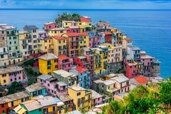 Schilderachtige stad van Manarola, Ligurië, Italië stock foto