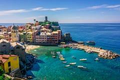 Schilderachtige stad van Vernazza, Ligurië, Italië stock fotografie