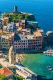 Schilderachtige stad van Vernazza, Ligurië, Italië stock foto's