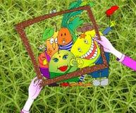 Schilderde een beeld van vruchten en groenten Stock Foto's