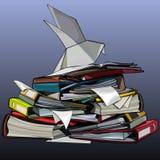 Schilderde een grote stapel van omslagen met documenten stock illustratie