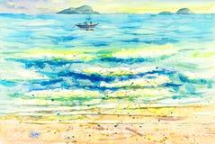Schilderen kleurrijk van bezinningen over het water en de emotie vector illustratie