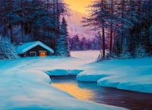 Schilderend de winterbos stock afbeelding