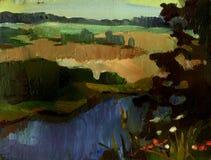 Schilderend landschap Stock Foto's