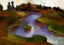Schilderend landschap Royalty-vrije Stock Fotografie